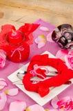 Arrangement for a Valentines dinner stock photos
