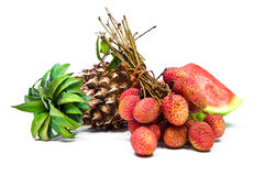arrangement of watermelon, pineapple and lychees Stock Photos