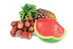 Arrangement of watermelon, pineapple and lychees Stock Photo