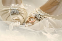 Arrangement of wedding shoes Stock Photo
