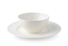 Arrangement of white ceramic dishes Royalty Free Stock Photo