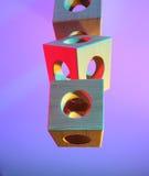 Arrangement of wooden cubes Stock Image