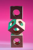 Arrangement of wooden cubes Royalty Free Stock Photography