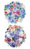 Arrangements floraux d'aquarelle Photographie stock