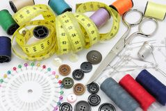 Arrangements sewing. Different tools used for making arrangements in apparel sewing royalty free stock image
