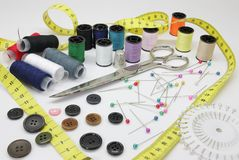 Arrangements sewing. Different tools used for making arrangements in apparel sewing stock photos