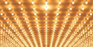 Arrangera i rak linje teaterljus av den Chicago teatern Kasinoljus Arkivfoton