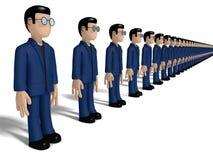 Arrangera i rak linje tecken för tecknad film 3D Fotografering för Bildbyråer