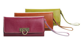 Arranges genuine woman leather wallets Royalty Free Stock Images
