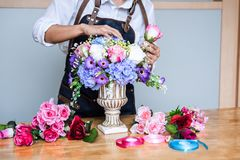 Free Arranging Artificial Flowers Vest Decoration At Home, Young Woman Florist Work Making Organizing Diy Artificial Flower, Craft And Stock Image - 151513251