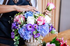 Arranging artificial flowers vest decoration at home, Young woman florist work making organizing diy artificial flower, craft and. Hand made concept royalty free stock images