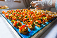 Arranging catering food stock image