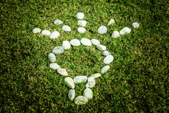 Arranging white stone on the green grass in Light bulb eco conce Stock Photo