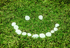 Arranging white stone on the green grass in smile concept for ec Royalty Free Stock Photos