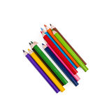 Arrangment of Colorful Pencils on White Background. Art Royalty Free Stock Image