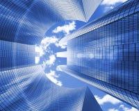Arranha-céus com uma euro- forma contra as nuvens, vista de baixo de, bandeira Com canal alfa ilustração 3D Fotos de Stock