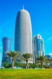 Arranha-céus da baía ocidental de Doha, Catar Imagem de Stock Royalty Free
