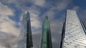 Arranha-céus da cidade internacional do centro de negócios, Moscou, Rússia video estoque