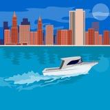 Arranha-céus e barco Fotografia de Stock