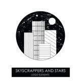 Arranha-céus e estrelas Logotipo original de alta qualidade Fotografia de Stock