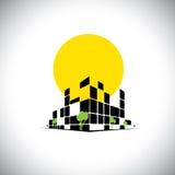 Arranha-céus e sol altos da elevação da cidade lustrosa no fundo - conceito Imagens de Stock