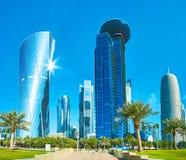 Arranha-céus elevados da baía ocidental, Doha, Catar Foto de Stock