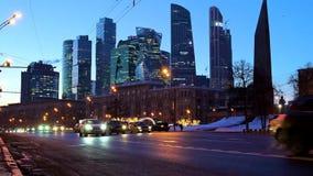 Arranha-céus futuristas modernos da cidade de Moscou do centro de negócios internacional de Moscou video estoque