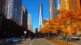 Arranha-céus na cidade de /New York da noite - EUA Vista Lower Manhattan ao 18 de dezembro de 2018 imagens de stock
