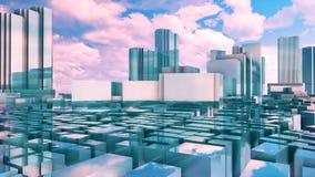 Arranha-céus reflexivos do Tóquio da cidade 3D do espelho abstrato ilustração do vetor
