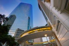Arranha-céus Texas do por do sol de Houston Downtown Foto de Stock Royalty Free