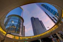 Arranha-céus Texas do por do sol de Houston Downtown Fotos de Stock