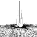 Arranha-céus urbanos abstratos da cidade na terra do caos Fotografia de Stock