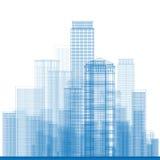 Arranha-céus da cidade do esboço na cor azul Imagens de Stock