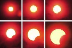 Arranjar em seqüência parcial do eclipse solar Foto de Stock Royalty Free