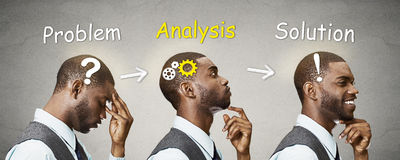 Arranje em sequência os tiros principais pensativos, pensando, encontrando a solução nova Imagem de Stock Royalty Free