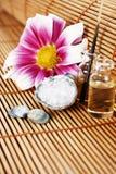 Arranjo com flor, sal do mar e petróleos Imagens de Stock Royalty Free