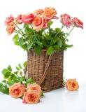 Arranjo com rosas em uma cesta de vime Fotografia de Stock