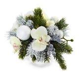 Arranjo de esferas do Natal, orquídeas Imagem de Stock