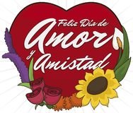 Arranjo de flor bonito com coração para o dia do amor e da amizade, ilustração do vetor ilustração do vetor