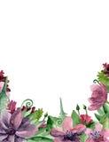 Arranjo de flores roxo do Watercolour Fotografia de Stock