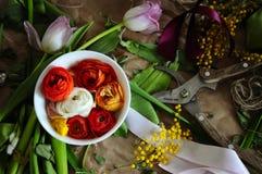 Arranjo do casamento da flor com ranúnculo, pion Foto de Stock