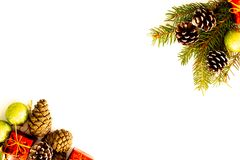 Arranjo do Natal com galhos do pinho, cones imagens de stock royalty free