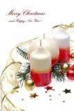 Arranjo do Natal com o cartão das velas Imagem de Stock