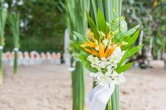 Arranjo floral em uma cerimônia de casamento Fotos de Stock