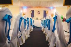 Arranjo interior dos lugares para um casamento fotografia de stock