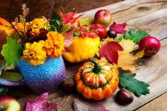 Arranjo sazonal das flores, das maçãs e das abóboras do outono Imagem de Stock Royalty Free