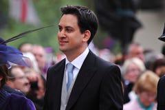 Arranque de cinta de trabajo británico de Ed Miliband Fotos de archivo libres de regalías