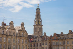 Arras, France. Buildings facades and tower at Arras, France Stock Images