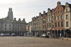 Arras, France. Place des Heros Flemish facades Stock Photography