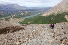 Arraste ao DES Los Tres no parque nacional do Los Glaciares, Argentina de Laguna Fotos de Stock Royalty Free